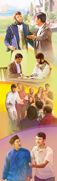 Un resucitado estudiando las Escrituras en el Paraíso y, luego, enseñando a otros resucitados.