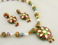 Pearl and Tewa Beaded Handcrafted Necklace and Earring Set