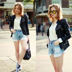 Wioletta Mary Kate - Levi's® Shorts, Romwe Sunglasses - Living in The Hague