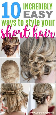 Looking for great ways to style your short hair? Learn how to style that short hair with 10 easy short hairstyle tutorials. #shorthair #hairtutorial #updos #hairstyles #hair #style #beauty #howto #shorthairstyles