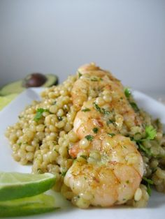 israeli couscous with shrimp - avocado cilantro lime dressing - keys to the cucina 1 (Favorite Pins Meals) Fish Recipes, Seafood Recipes, Cooking Recipes, Healthy Recipes, Healthy Snacks, Avocado Cilantro Lime Dressing, Shrimp Avocado, Clean Eating, Healthy Eating