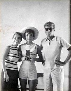 Jackie's selfie! Jackie Kennedy with Ethel Kennedy and John F. Kennedy in 1954.