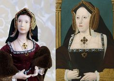 Katherine of Aragon miniature doll --I love this! it would be tempting to add detail to the face; but the doll stays true to the painting