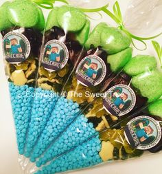 Minecraft sweetcones party bag favours. Children's birthday party www.facebook.com/thesweettree1 Minecraft Party Food, Minecraft Birthday Party, 7th Birthday, Birthday Party Themes, Birthday Ideas, Childrens Party, Party Bags, Party Time, Birthdays