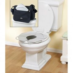 """This folding potty seat is awesome!  It is small and flat enough when folded to fit in the diaper bag.  There are handles on it, and a toddler size opening so I don't have to hold my daughter to keep her from """"falling in"""" or touching the sides of the public toilet.  I keep ours in the zip lock bag that it came in, and carry sanitizer wipes to clean it.  No more holding my daughter while she freaks out about falling in, she has confidence on the public toilets now, yay!!"""