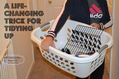 A Life Changing Trick for Tidying Up Baby Blog, Tidy Up, Plastic Laundry Basket, Life Changing, Clean House, Clutter, Cleaning Hacks, Life Hacks, Household