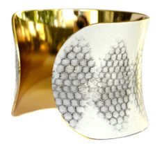 White Honeycomb Snakeskin Gold Lined Cuff Bracelet by UNEARTHED