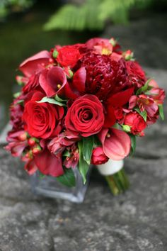 BB0426-Red Peony, Rose, Mini Calla and Berry Wedding Bouquet