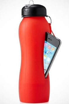 My friend had this.... Its a squishy water bottle that holds ur phone while ur working out!!!!!