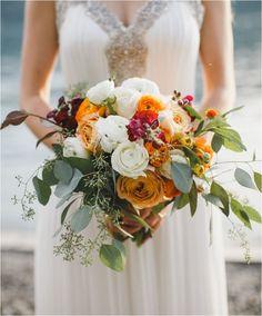 Ramo de tonos anaranjados otoñales. #ramonovia #ramo #ramootoño #novias #bodas
