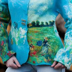 Elena Shutko - Felted Jacket - inspired by Claude Monet Nuno Felting, Claude Monet, Types Of Art, Handicraft, Wearable Art, Cover Up, Quilts, Wool, My Style