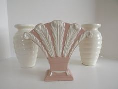 Chadwick Art Pottery, Pink Art Deco Vase, With Five Cream Plumes, Art Pottery, Trenton Potteries, Pottery Collector Circa 1946-1948