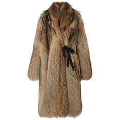 Ellery     Audition Wrap Fur Coat (€13.455) ❤ liked on Polyvore featuring outerwear, coats, brown, e l l e r y, fur coat, brown fur coat, wrap coat and brown coat