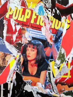Umberto Alizzi Pulp Fiction décollage movie poster john travolta manifesto quentin tarantino pop art mimmo rotella uma thurman