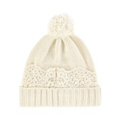 Wool and viscose knit Thick knit Patch: Flower lace Warm item Perfect to protect from the cold Bobble on the top Flower lace Sizes: Size S (T1) = Head 52 cm (20.5 inches) (size 4-6 years) Size M (T2) = Head 54 cm (size 8-10 years) Size L (T3) = Head 56 cm (size 12-16 years) - $ 92