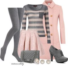 Grey tights, sweater, pink trench coat, skirt, handbag and grey high heels Cute Fashion, Look Fashion, Teen Fashion, Winter Fashion, Fashion Outfits, Womens Fashion, Fashion Beauty, Lila Outfits, Mode Outfits