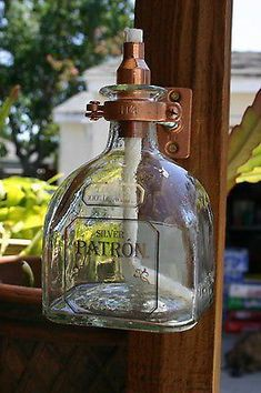 2 Patron Tequila Tiki Torch / Oil Lamps including bottle & hardware Copper/Brass - Outdoor Lighting - Ideas of Outdoor Lighting Patron Tequila, Backyard Lighting, Porch Lighting, Lighting Ideas, Bar Lighting, Lighting Design, Liquor Bottles, Glass Bottles, Tiki Torches & Oil Lamps