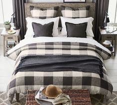 A large-scale buffalo check is a statement look for the bed, and our Bryce Duvet Cover is a casual and comfortable choice. It pairs perfectly with the matching sham, or mix with solid colors to create your own look. Guest Bedrooms, Master Bedroom, Modern Bedroom, Bedroom Classic, Master Suite, Master Master, Stylish Bedroom, Plaid Bedroom, Plaid Bedding