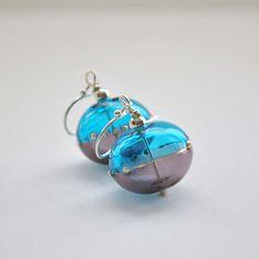 Light Weight Earrings Purple Earrings Aqua Earrings by bstrung, $30.00