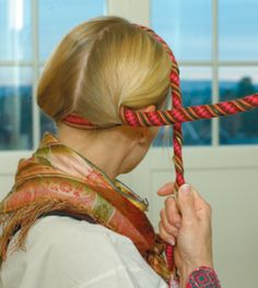 """Å vippe håret - first comes an interesting film about how to weave ribbon, then comes three images about """"å vippe håret"""" - twining the hair. It was considered sloppy to go with untied hair back in olden times. Girls had their hair braided or """"vipped"""" Folk Costume, Costumes, Card Weaving, Braided Hairstyles, Hairdos, Headgear, Hair Inspo, Hair Hacks, Hair Goals"""
