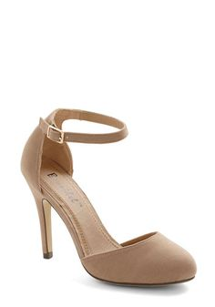 Dinner and Dancing Heel in Camel. You couldnt be happier about your classic date night, so you find a look that reflects your joyous mood. Ankle Strap Heels, Ankle Straps, Cute Shoes, Me Too Shoes, Look Fashion, Fashion Shoes, Silver Dress Shoes, Navy Dress, Shoe Boots