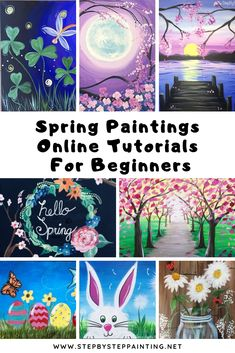 Spring Paintings Spring Canvas Painting Tutorials Looking for Spring canvas painting ideas? Check out this gallery of spring paintings you can learn to do at home! These step by step acrylic… Painting Tutorial, Night Painting, Spring Painting, Canvas Art Projects, Easter Paintings, Online Painting, Painting Crafts, Canvas Painting Tutorials, Canvas Art Painting