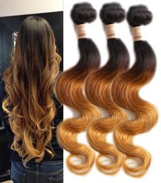 UK Ship 300g Ombre Body Wave Human Hair Weft Grade 6A Full Head Hair Extensions