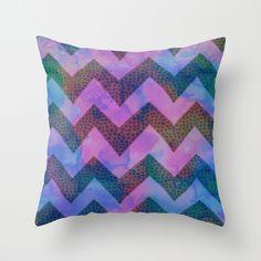 Little Squares Chevron - Blue Throw Pillow by Schatzi Brown
