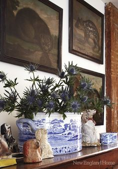 Chinoiserie Chic: Blue and White Chinese Planters, indoor plants Blue And White China, Blue China, Love Blue, Delft, Objets Antiques, Halls, Staffordshire Dog, New England Homes, House And Home Magazine