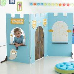 Nice paravent for little boys Cardboard Box Playhouse Diy, Games For Kids, Diy For Kids, Diy Play Kitchen, Recycled Glass Bottles, Diy Playground, Toy Rooms, Kids Room Art, Creative Play