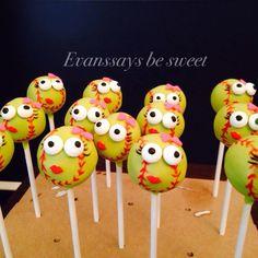Softball cake pops by Evanssays be sweet
