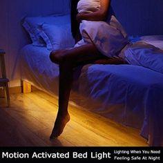 Motion Activated Bed Light, Vansky Flexible LED Strip Sensor Night Light Illumination with Automatic Shut Off Timer (Warm Soft Glow)
