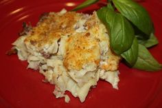 This is a German noodle dish that uses ground ham and onions, and a egg and sour cream or milk binder, topped with bread crumbs and cheese and baked. This is an old Swabian recipe that utilizes fresh home made noodles. You can of course use already made and packaged noodles.