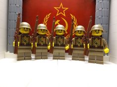 5x WWII Russian Infantry Corporals w/ Mosin Nagants, SSh-40 helmets & backpacks #LEGO