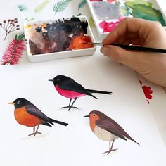 Three little robins from different corners of the world! When I was creating Holly Jolly Gouache I started with the European Robin, but then I decided to include an American Robin and a little Rose Robin for my Aussies too. Each of the bird lessons is roughly 10 minutes long, (and it's free!) so why not try them all? Which one is your favourite?  #gouache #gouachepaint #gouachepainting Watercolor Food, Watercolor Pictures, Watercolor Design, Watercolour, Gouache Painting, Artist Painting, Painting & Drawing, Christmas Poster, Christmas Art