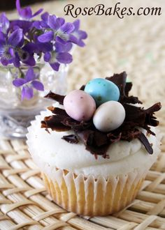 Easter Cupcakes - Dark Chocolate Nest with Candy Eggs