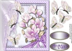 A lovely card with Beautiful L8iolac Magnolia's and Butterfly's has one greeting tags and a blank one