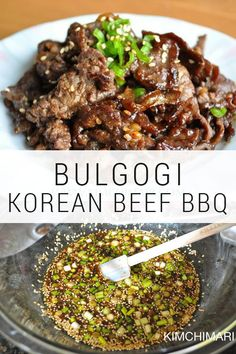 Bulgogi Bulgogi is the most delicious Korean BBQ meat dish that is made with thin slices of beef. The marinade recipe uses kiwi that makes it most tender and yummy. The post Bulgogi & Authentic Korean Beef BBQ appeared first on Food Monster. Beef Steak Recipes, Beef Recipes For Dinner, Meat Recipes, Cooking Recipes, Korean Food Recipes, Vietnamese Recipes, Chicken Recipes, Bbq Dinner Ideas, Sliced Beef Recipes