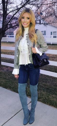 women's white long sleeve blouse and blue jeans and gray cardigan outfit
