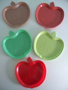 Set of 12 Vintage Coasters Apples Red,Green,Lime RESERVED for JUNKOITAKURA