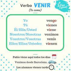 ‼Gramática LE‼  🇪🇸 Venir 🇬🇧 To come  #GramáticaLE #Idiomas #ELE #Languages #español #Hola #welearnespanol #Spanish #Venir #Come Learn Espanol, Spanish 1, Learning Spanish, Boarding Pass, Language, Sleep, Travel, Irregular Verbs, To Sleep