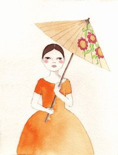 Girl in Orange Dress print of original watercolor. , via Etsy.