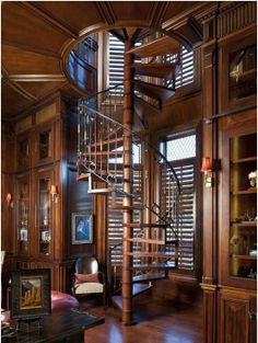 Hardwood, Exposed Beams, Traditional, Built-in bookshelves/cabinets, Wall sconce, Spiral