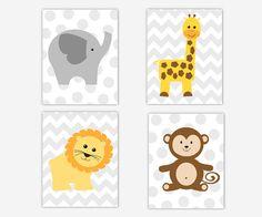 ZOO Animals Baby Nursery Wall Art Elephant Giraffe Lion Monkey Baby Nursery Decor SAFARI JUNGLE ANIMALS Yellow Gray Grey Chevron Boys Room