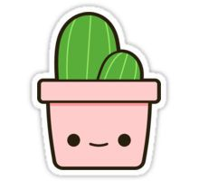 Easy Drawings Cactus in cute pot Sticker - Cactus in an adorable pot! Cute Easy Drawings, Cute Kawaii Drawings, Kawaii Doodles, Cute Doodles, Cute Animal Drawings, Cactus Stickers, Kawaii Stickers, Cute Stickers, Doodle Drawings