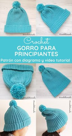 Gorro a crochet para principiantes - Crochet con Sole Crochet For Beginners, Beginner Crochet, Crochet Projects, Crochet Hats, Knitting, Collections, Beautiful, Fashion, Crochet Cap
