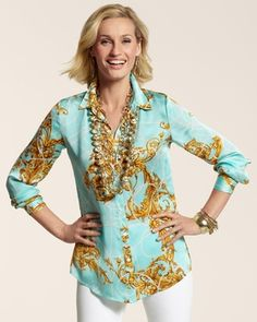 Chicos Womens Cool Aqua Royal Regal Janie Shirt in Spring 2013 from Chico's on shop.CatalogSpree.com, my personal digital mall.