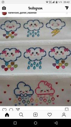 "Etamin bulut guzelligi ""This post was discovered by Hul"" Funny Cross Stitch Patterns, Cross Stitch Borders, Cross Stitch Baby, Cross Stitch Flowers, Cross Stitch Designs, Cross Stitching, Cross Stitch Embroidery, Embroidery Patterns, Hand Embroidery"