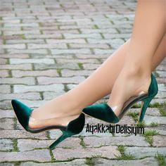 Adelma Kadife Yeşil Şeffaf Stiletto #velvet #stiletto #green