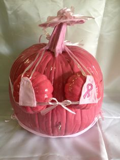 BOOB PUMPKIN FOR BREAST CANCER AWARENESS. CUTE! Breast Cancer Party, Breast Cancer Crafts, Breast Cancer Fundraiser, Breast Cancer Walk, Breast Cancer Survivor, Breast Cancer Awareness, Pumpkin Decorating Contest, Pumpkin Carving Contest, Pink Pumpkin Party